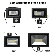 15W 30W 60W 100W Floodlight  PIR Motion Sensor LED Flood Light 2835 SMD Outdoor Lamp Warm/White Waterproof IP65