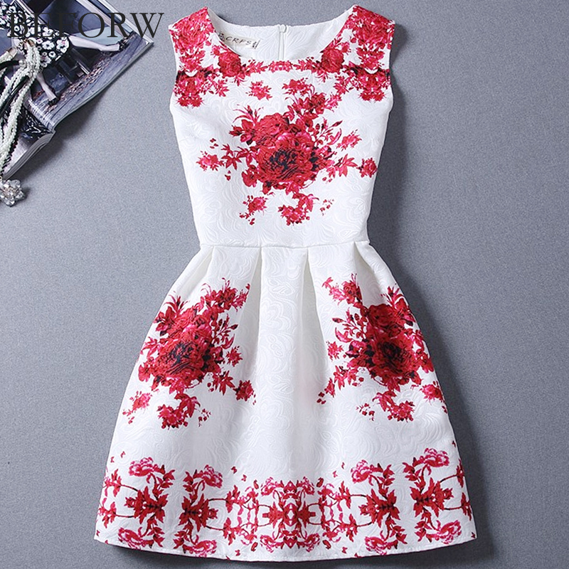 BEFORW Vintage Women Dress Spring Summer Fashion Print Dresses Sleeveless Sexy Mini Dress Vestidos de festa Women Clothing
