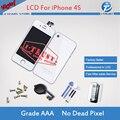 Branco LCD Touch Screen Digitador e Vidro Voltar Tampa Da Caixa e home button peça de reposição para o iphone 4s com ferramentas Freeship