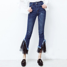The new spring 2017 han edition of splicing lace tight flared jeans women's nine minutes of pants   201723