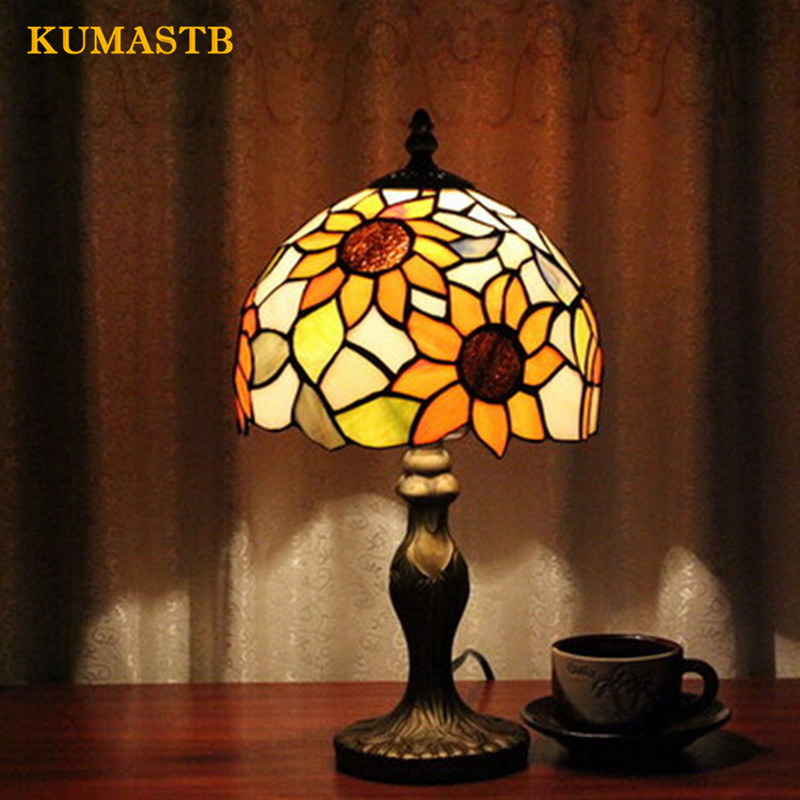 European Table Lamp Luxury American Study Vintage Desk Lamp Bedroom Bedside Light Stained Glass Lampshade Sunflowers Table Lamp luxary classic american bedroom table light foyer european crystal table lamp glass tall table light bedside hotel table lamp