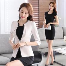 S-5XL New Women's Dress Suits Summer 2018 Spring Elegant Solid Slim Formal Long-sleeve Blazer + Dress Sets Business Work Female