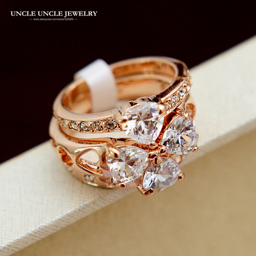 Beautiful!! Rose Gold Color 3 in 1 Austrian Zirconia Rhinestone Four Leaves Clover Design Lady Finger Ring Wholesale