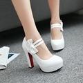 Estilo doce mulheres sapatos da moda sapatos Hook & Loop Borboleta-nó sapatos de salto alto Mary Janes bombas Dedo Do Pé Redondo Primavera/plataformas de bombas de outono