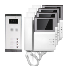 FREE SHIPPING Handheld 4.3 inch TFT Color Video Door Phone Intercom System + 4 Screens + Doorbell Camera for 3 Family Apartment
