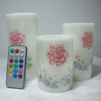 flameless remote control led wax candle lamp with RGB multiple color changing/lovely night light/ new year decoration