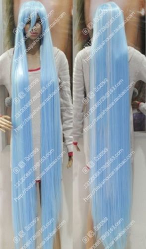 About 150cm Wig,blue and white Long straight hair Anime Christmas cosplay wig