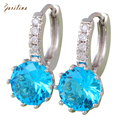 Glamorous Silver Round stones Cluster Brand female jewelry Hoop earrings for womens E435