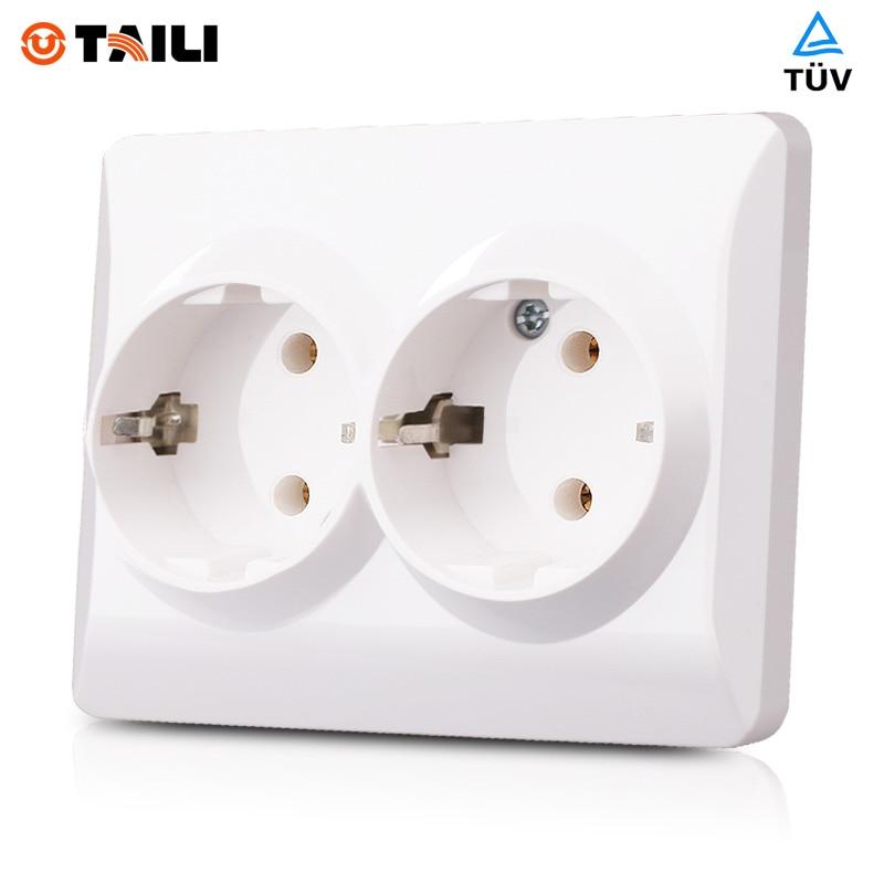 EU Standard Double German Socket Wall Socket Wall outlet Plug with ...