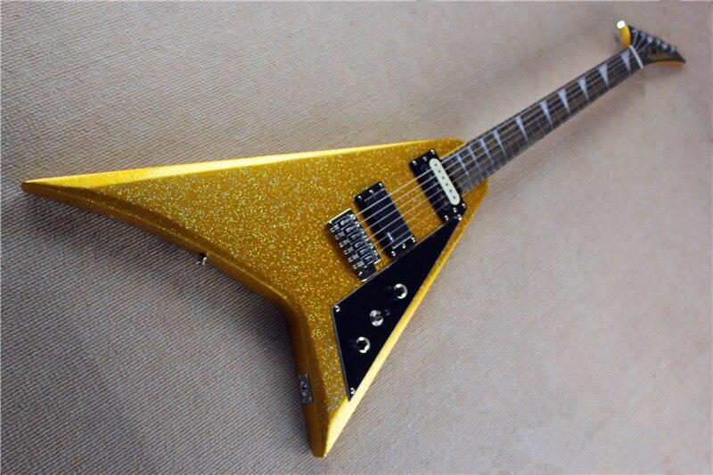 Livraison gratuite Personnalisée en Usine Top Qualité D'or Jackson flying V guitare électrique 15-1-1