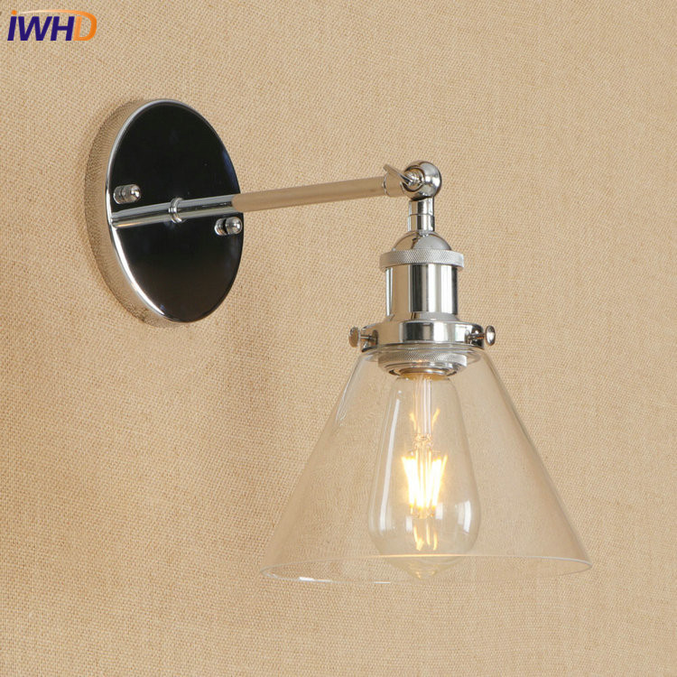 IWHD Iron RH Retro LED Wall Lamp Vintage Industrial Loft Wall Light With Glass Lampshade Fixtures For Home Lighting Luminaire iwhd colorful rh loft vintage industrial