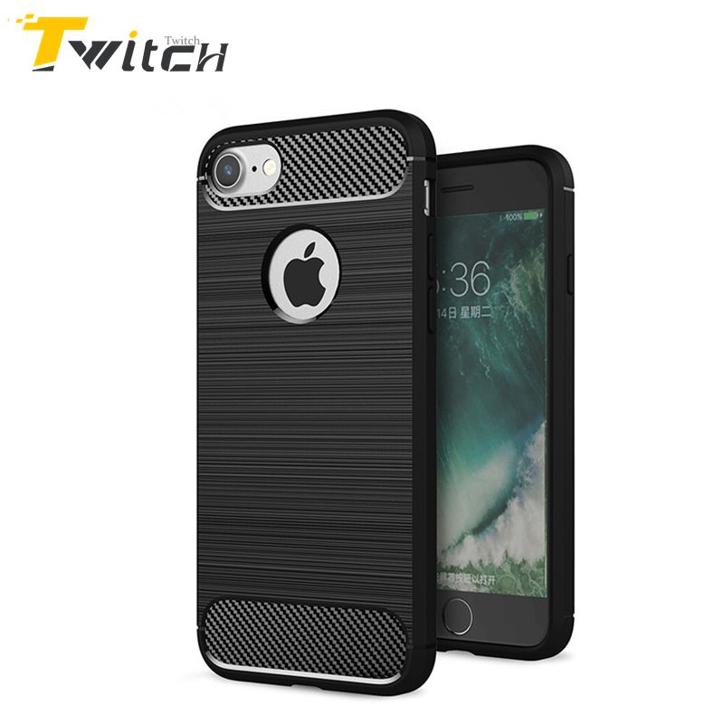 Twitch Solid color Phone Case For Apple iphone5 5s SE 6 6s 7 plus Hybrid Super Armor Fiber Texture Brushed Silicone Back Cover