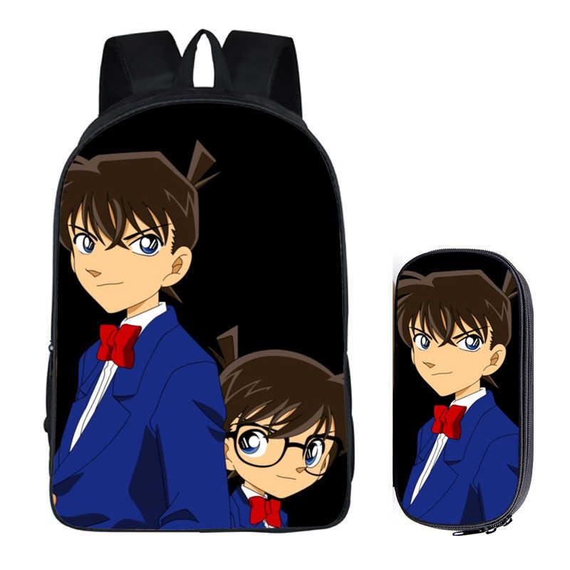 Японское аниме «Детектив Конан» комплект из 2 предметов с пенал для карандашей рюкзаки рукоделие принт классного школьного образа детские школьные сумки для мальчиков Дети Для Мужчин Книга