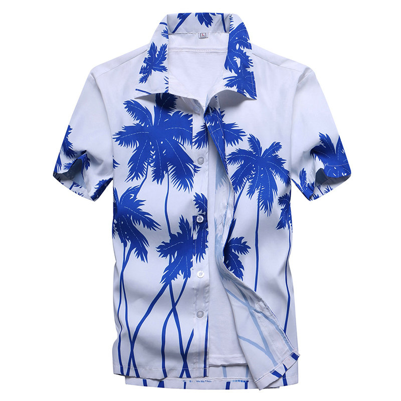 Men Summer Hawaiian Coconut Tree Print Beach Short Sleeve Breathable Hawaii Shirts