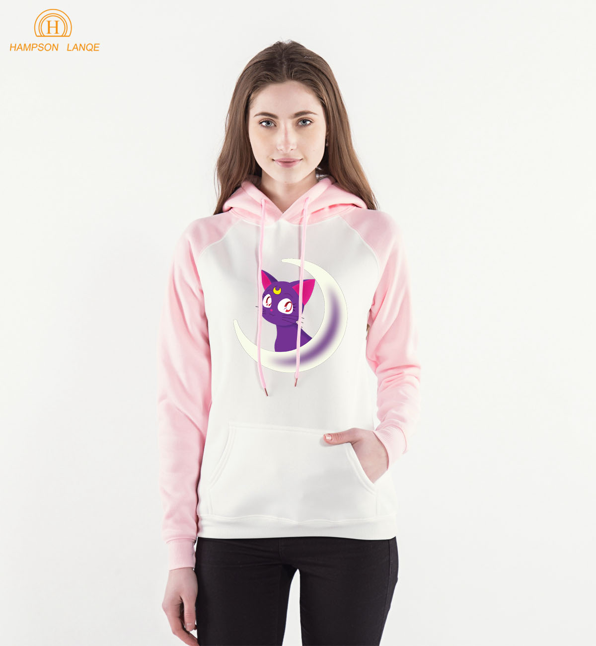 Kawaii Sailor Moon Anime Hoodie Pink Warm Fleece Raglan Hoodies 2019 Spring Autumn Kawaii Sweatshirts Women Kpop Raglan Hoodie