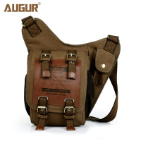 AUGUR Retro Canvas Man Bag Leather & Canvas Military Style Canvas Messenger Bag Men's Leather Shoulder Bags Crossbody Bag