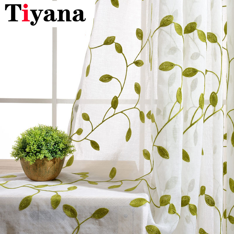 Rustic Green Leaves Pattern Embroidered Curtains For Living Room Bedroom Kitchen Sheer Curtains White Window Drapes P072X