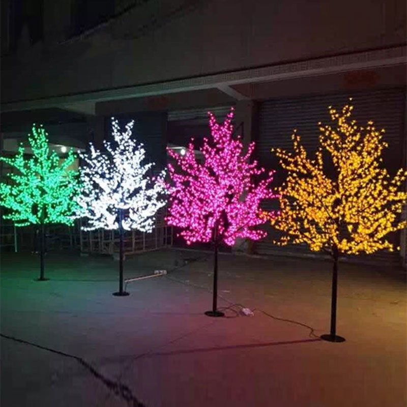 DVOLADOR Christmas LED Cherry Blossom Tree Light 0.8M 1.2M Tree Lights Fairy Lights Landscape Outdoor Lighting For Holiday
