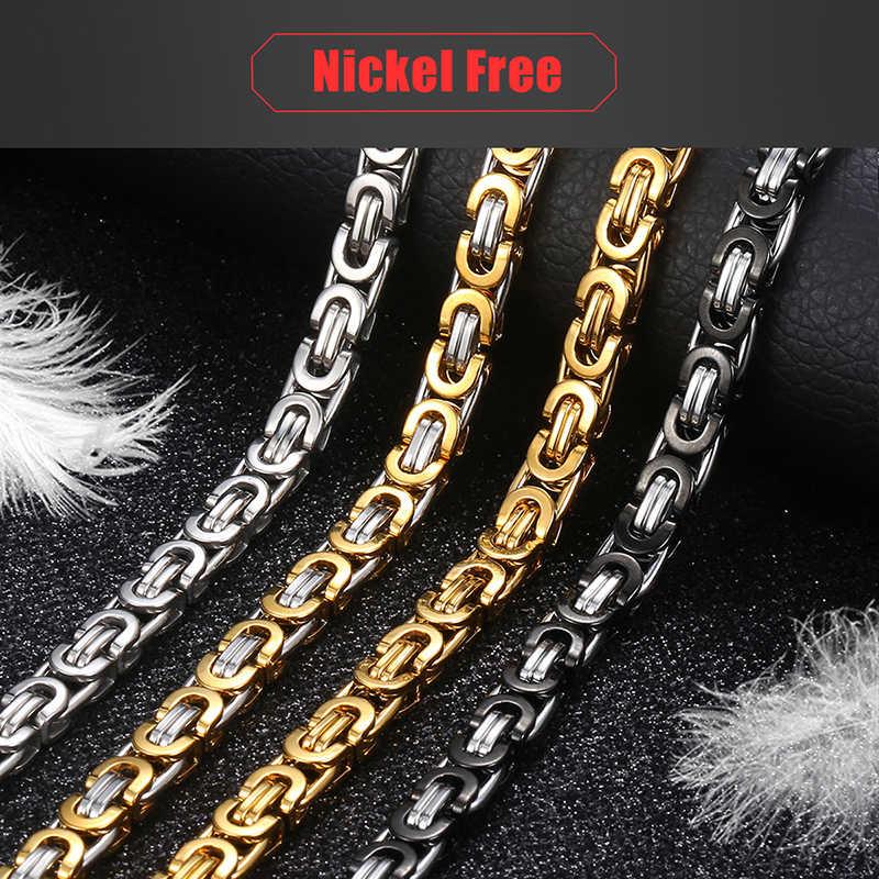 Łańcuch naszyjnik dla mężczyzn ze stali nierdzewnej złoto srebro czarny bizantyjski Link męskie naszyjniki łańcuchy Davieslee moda biżuteria DLKNM27
