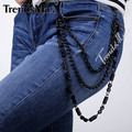 MENS Boys Unisex Black Tone Pants Chain 3 lines Rolo Bead Jean Chain Punk PC04