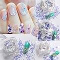 Nail Art Paillette Sequins Glitter Nail Sequins Shiny Nail Paillettes Hologram DIY Manicure Blue Glitter Tips Nail Decorations