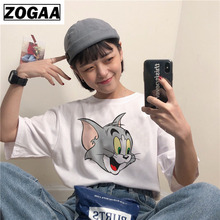 2018 Summer women white T Shirts Jerry mouse Tom cat printing top tee Kawaii cartoon Female Casual t-shirt Plus Size Women Shirt