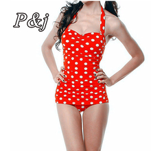 2015 Hot Sale Plus Size One Piece Swimwear Women Sexy Polka Dot Swimsuit Halter Bandage Push Up Monokini Retro Swim Bathing Suit