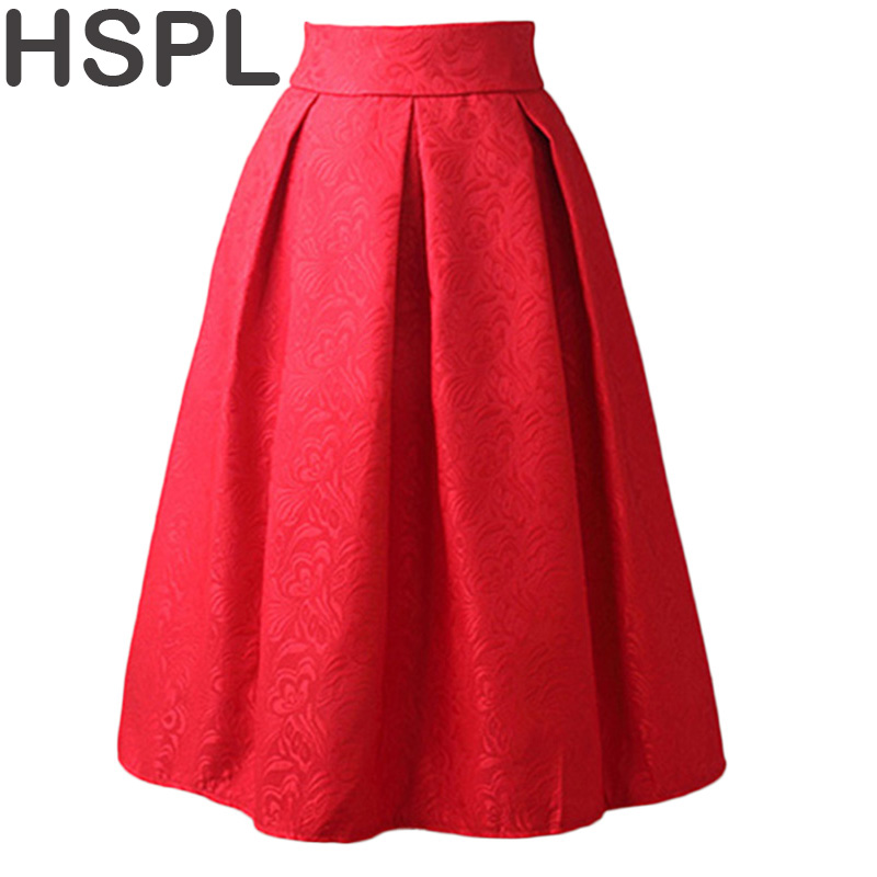 Women Skirts High Waist Pleated Midi 2017 Spring Summer Vintage Skirt Work Wear Hepburn Skirts Lady