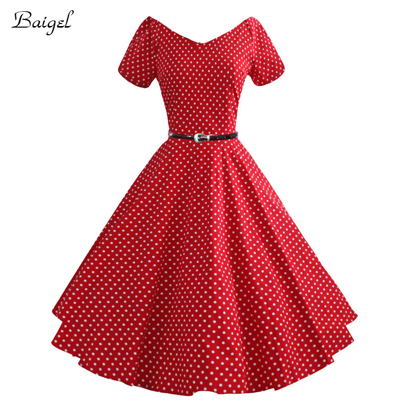 0ec2c22106f4a Womens Polka Dot Sexy V Neck Summer Party Dresses 50s 60s Retro Style  Ladies Rockabilly Swing Red Black White Vintage Dress