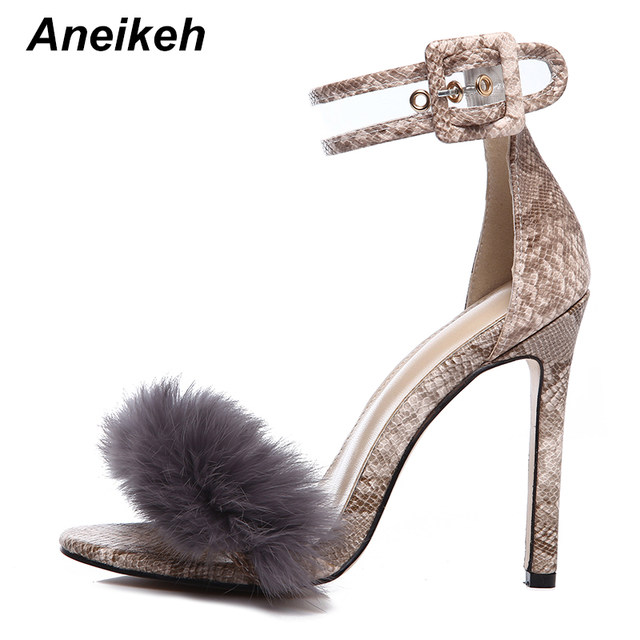 fdaf38a1498 Aneikeh 2018 Ankle Strap Fur Leopard Thin High Heels Women Summer Sandals  Shoes Buckle Sexy Pumps Open Toe Heels Sandals Size 42