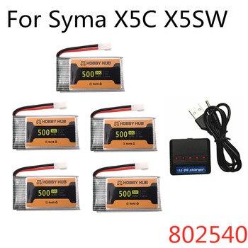3,7 v 500mah 802540 30C Lipo batería para Syma X5C X5SC X5SW giroscopio 3,7 V Lipo para M68 Cheerson CX-30 H5C 905 RC Drone