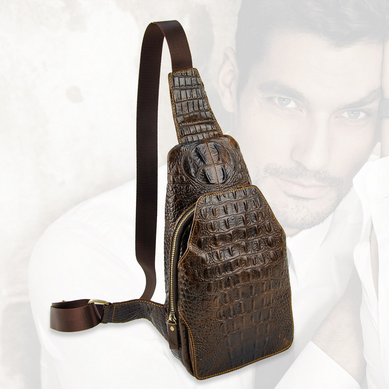 Men Retro Genuine Leather Shoulder Handbag Casual Messenger Cross Body Bag Purse Sling Crocodile Alligator ель световая с елочными шарами арти м 18 см art 594 024