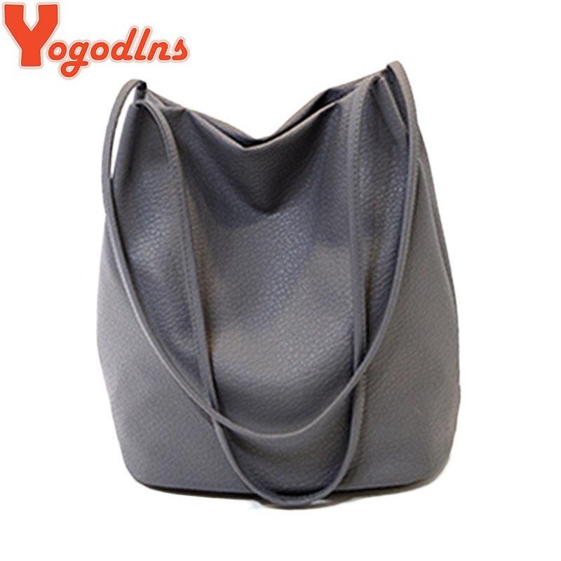 Yogodlns Women Leather Handbags Black Bucket Shoulder Bags Ladies Cross Body Bag