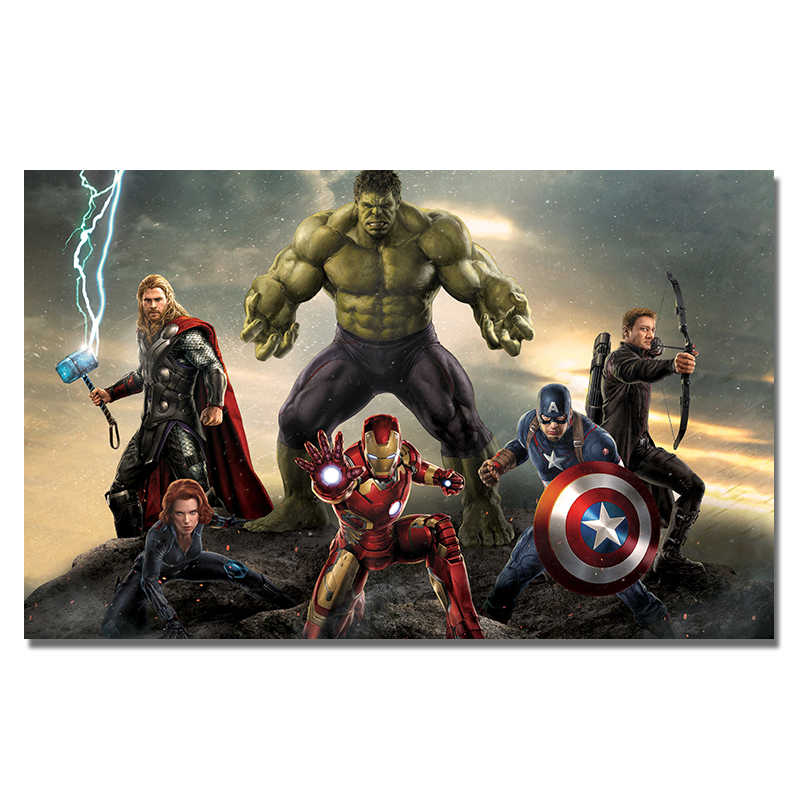 Avengers Poster Marvel Movie Poster Superhero Wall Picture Silk Wall Art Prints Thor Hulk Iron Man