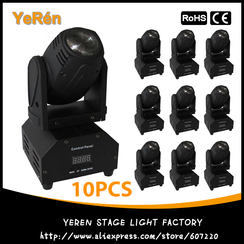 (10PCS) LED Beam Mini Moving Head Light RGBW 10W Cree Led Lamp DMX 12Channels DJ Light for Bar Home Party Club Wedding 10w rgbw mini led beam moving head light disco dj stage lighting dmx512 mini 10w led linear beam chandelier 10w wash beam lamps