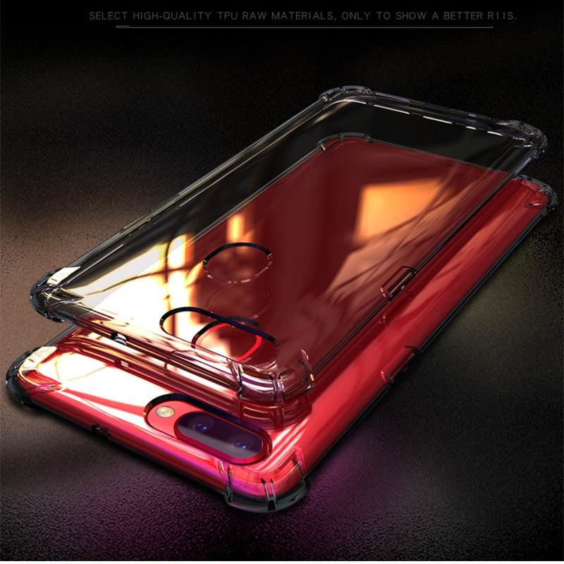 the latest 696a9 84d38 US $0.88 20% OFF|shockproof Airbag armor clear phone case on for oppo f7 f9  pro f5 a3s r15 pro a3 f3 plus r9 r9s r11 r11s r17 a7x a83 tpu cover-in ...