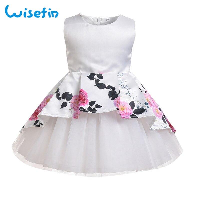 Wisefin Kids Gown Children Girl Dress Summer White Floral Design Toddler Girl Princess Wedding Dresses Tutu Party Frock For Girl