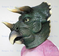 hot selling Eco friendly Adult size realistic latex Dinosaur Mask Triceratops Full Head Deluxe Party Mask