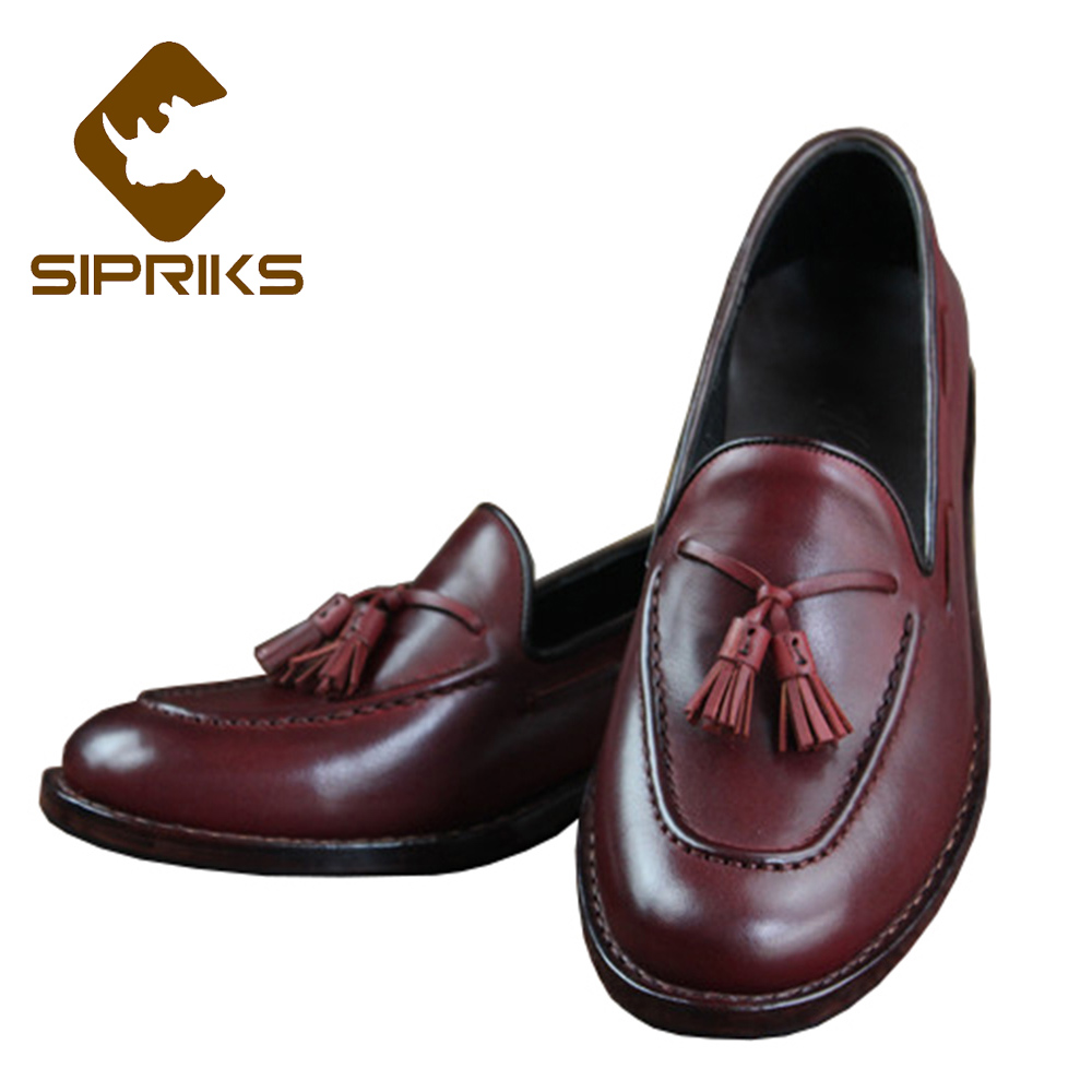 Sipriks Genuine Leather Light Green Boat Shoes Slip On Loafers With Tassels Classic Goodyear Welted Loafers Burgundy Topsiders цены