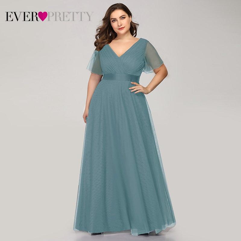 Plus Size Evening Dresses Ever Pretty EP07962 A-Line V-Neck Short Sleeve Women Long Formal Dresses Abendkleider Vestido Comprido