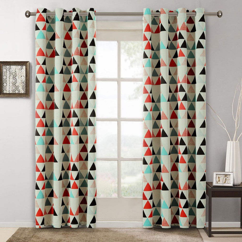 Children curtains for bedroom american style geometric for Kids drapery fabric