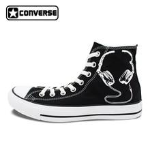 Black Converse All Star Hand Painted Shoes Earphones Original Design Custom Men Women s Sneakers Christmas