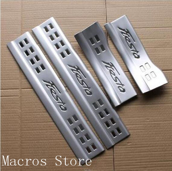 Accessories fit for Ford Fiesta 2009-2016 car-styling stainless steel inner protection scuff plate door sill Stickers stainless steel stereo knob panel decorative stickers 1pcs for ford fiesta ecosport accessories