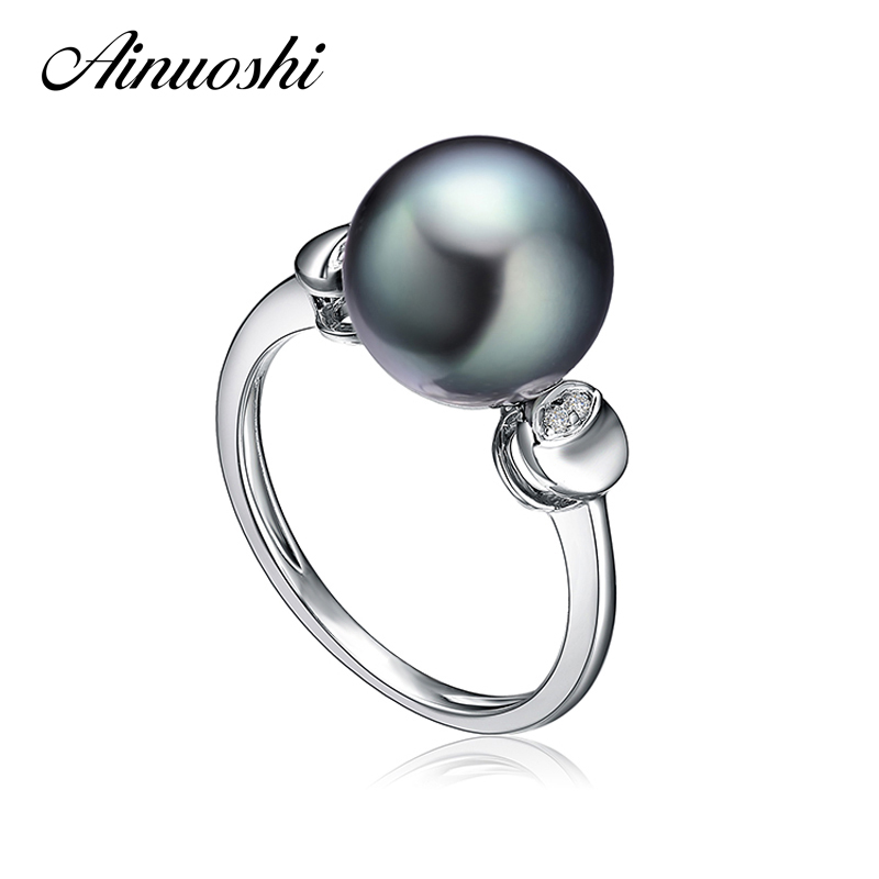 AINUOSHI 10mm Black Tahitian Cultured Pearl Ring 925 Sterling Silver Round Pearl Ring Engagement Anniversary Women