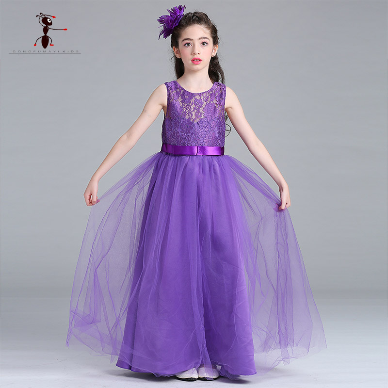Kung Fu Ant Purple Gray Blue White Lace Cotton Mixed Sashes Summer Dresses for Girls Sleeveless Ball Gown Ankle-Length L-006 women s kung fu tai chi martial arts suit wushu wing chun performance costumes