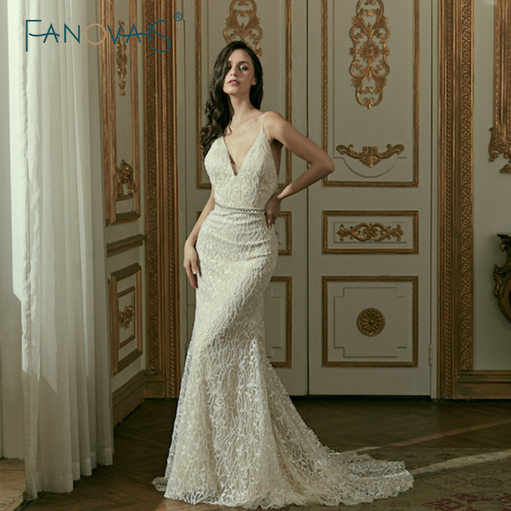 Lace Mermaid Wedding Gown With Straps: Vintage Lace Mermaid Wedding Dresses 2019 Spaghetti Straps