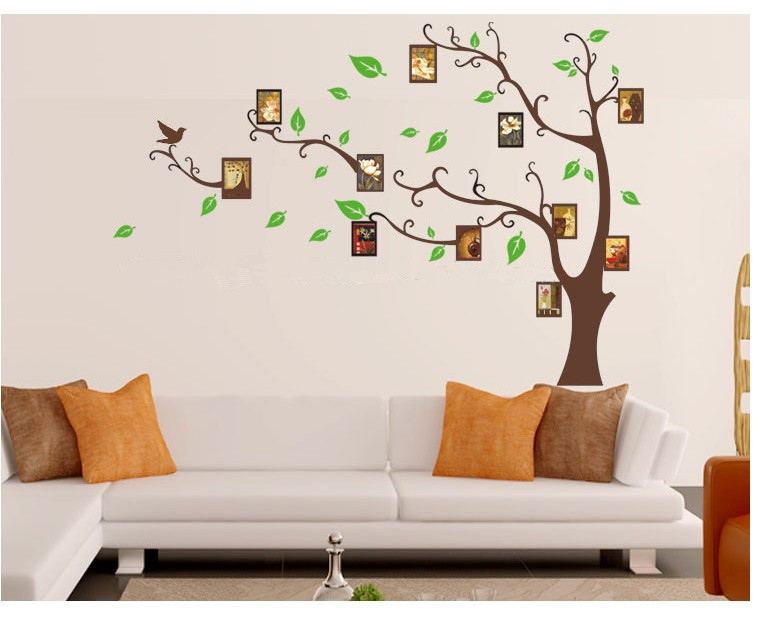 Novelty Households Tree Frames Wall Art Decoration Vinyl Stickers Kids  Rooms Furniture TV Diy Photo Tree Christmas Mirror Decals