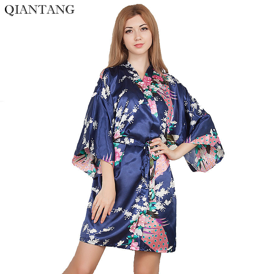 Top Selling Summer Women Mini Kimono Short Night Robe Navy Blue Faux Silk Bath Gown Nightgown Pijama Mujer One Size Msj001