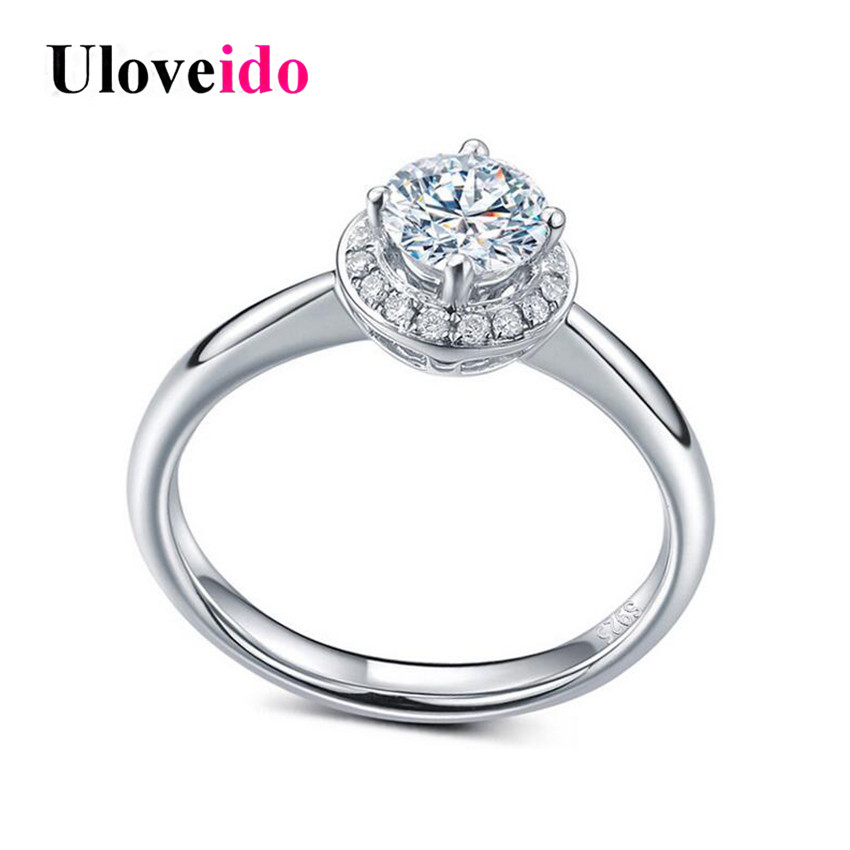 Uloveido Silver 925 Jewelry Wedding Rings for Women Cubic Zirconia Engagement Ring Female Anel Bijoux Anillo Bague 5% Off LJ045