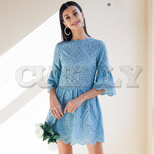 CUERLY A-line embroidery women dress Elegant hollow out flare sleeve cotton female O-neck boho white summer 2019